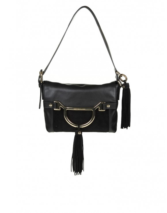 "BORBONESE ""DIVA"" BAG IN BLACK LEATHER"