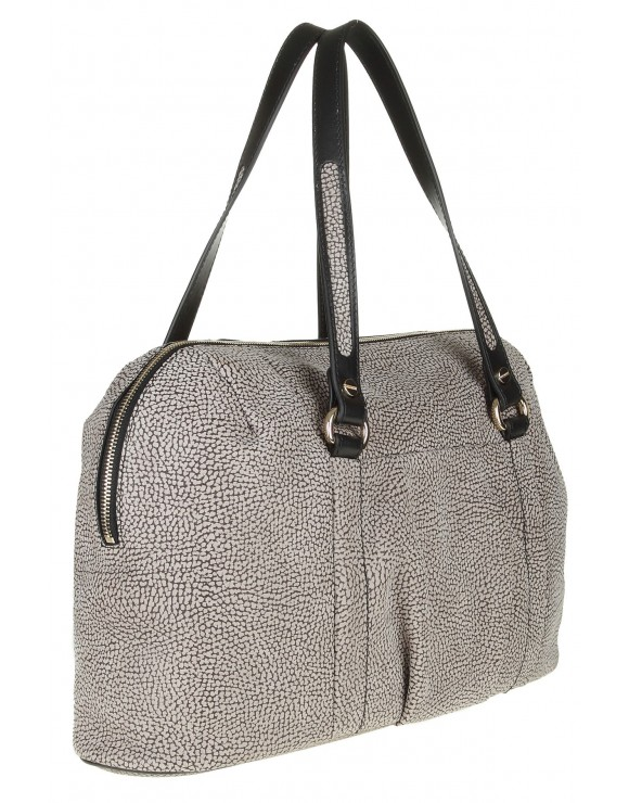 BORBONESE HANDBAG GRAY IN FROSTED CALFSKIN