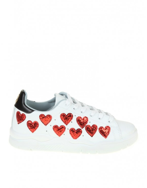 CHIARA FERRAGNI WHITE LEATHER SNEAKER