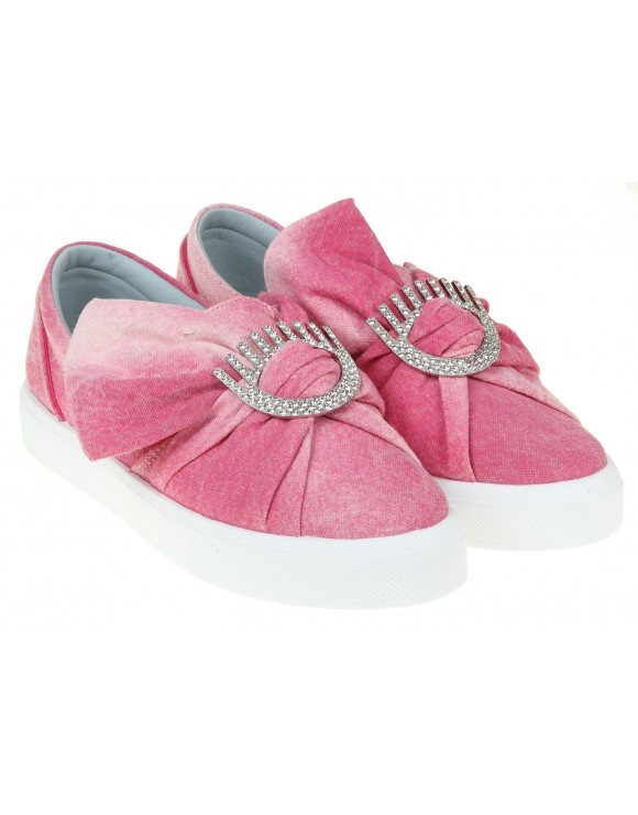 CHIARA FERRAGNI PINK CANVAS SLIP-ON