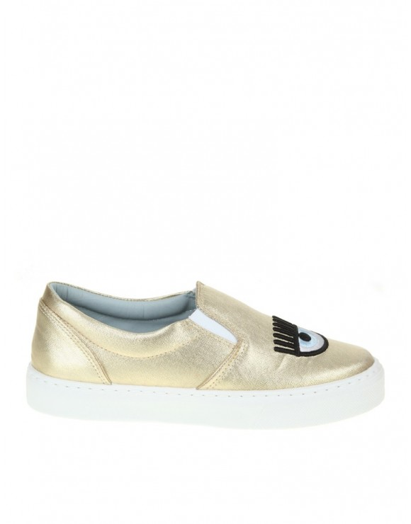 CHIARA FERRAGNI GOLD SLIP ON
