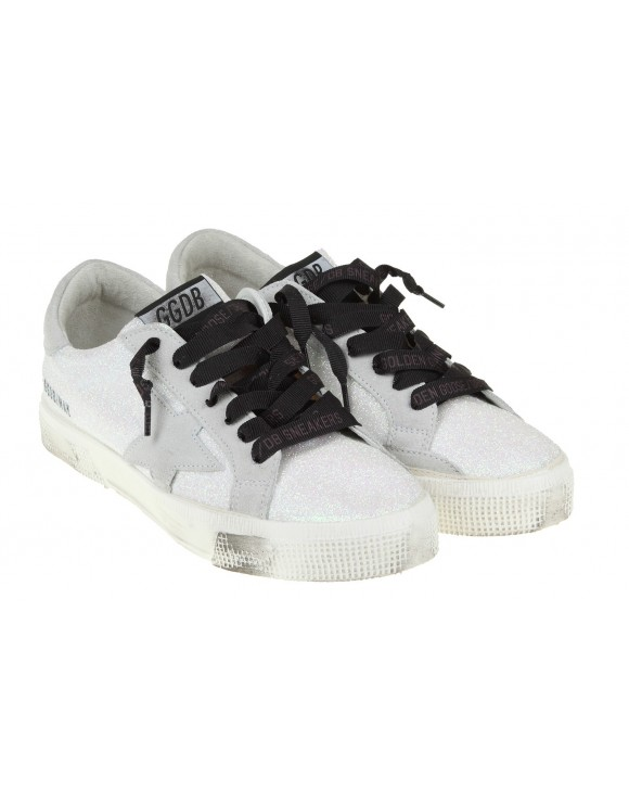 GOLDEN GOOSE SNEAKERS WHITE GLITTER MAY