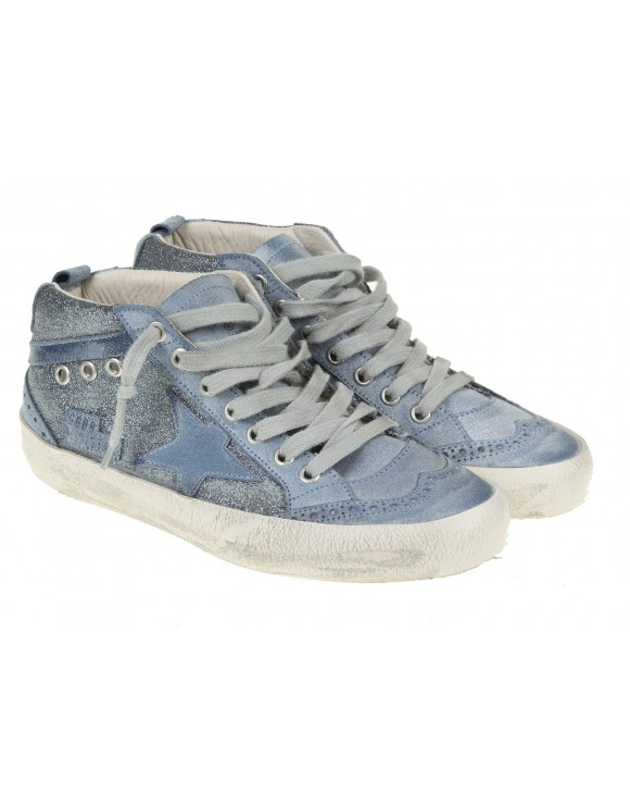GOLDEN GOOSE STAR MID SNEAKERS LEATHER BLUE