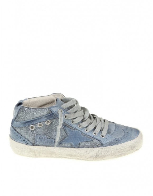GOLDEN GOOSE SNEAKERS MID STAR IN PELLE BLU