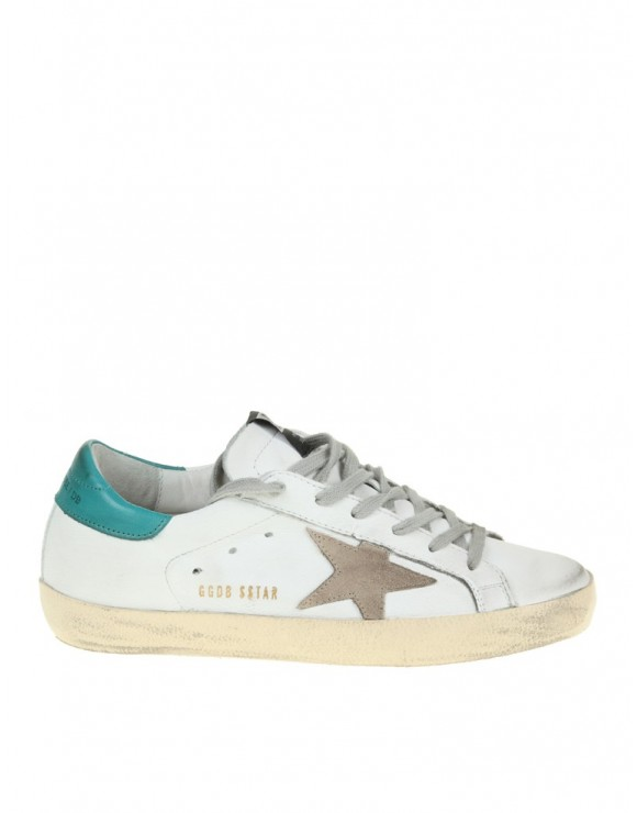 GOLDEN GOOSE SNEAKERS SUPERSTAR IN PELLE BIANCO/PETROLIO