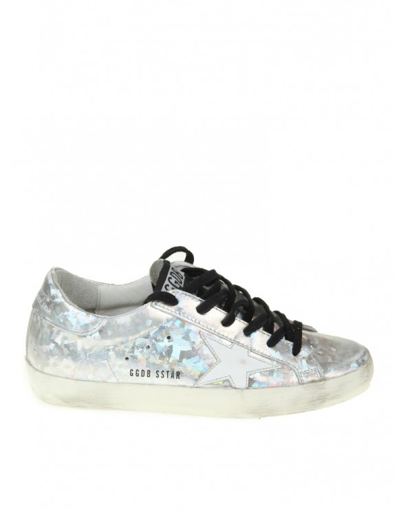 GOLDEN GOOSE SNEAKERS SUPERSTAR IN PELLE ARGENTO