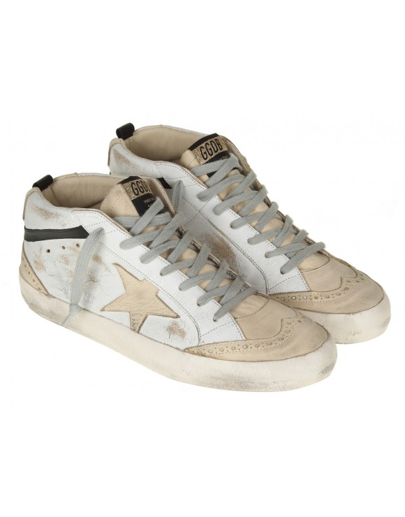 GOLDEN GOOSE SNEAKERS MID STAR IN PELLE BIANCO/AVORIO
