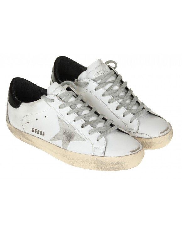 GOLDEN GOOSE SNEAKERS SUPERSTAR IN PELLE BIANCO/NERO
