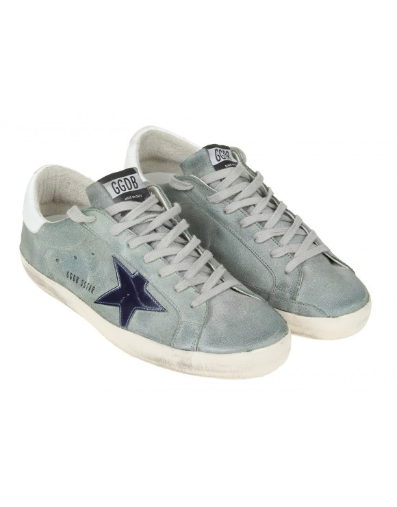 GOLDEN GOOSE SNEAKERS SUPERSTAR IN PELLE SPALMATA VERDE