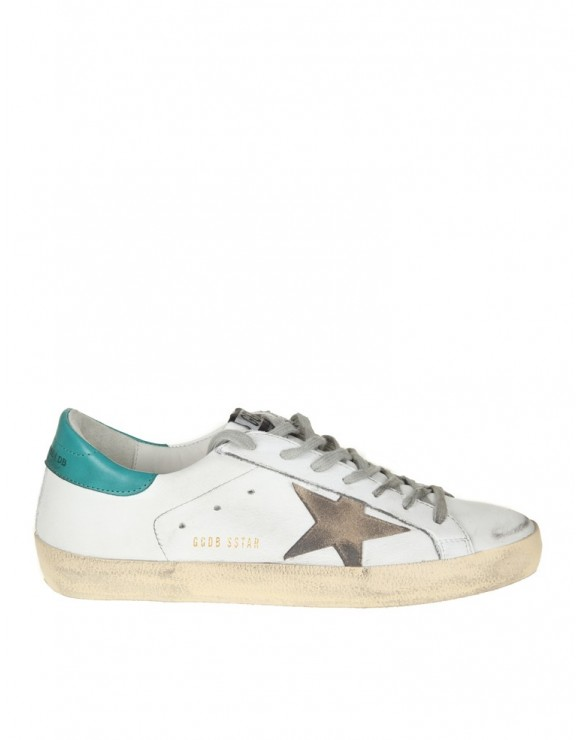 GOLDEN GOOSE SNEAKERS SUPERSTAR IN PELLE BIANCA/VERDE