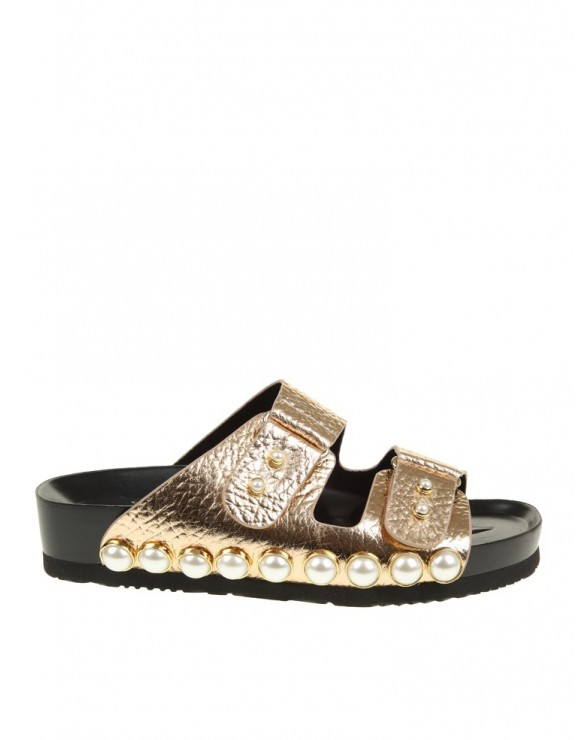 SUECOMMA BONNIE FLAT SANDALS GOLD