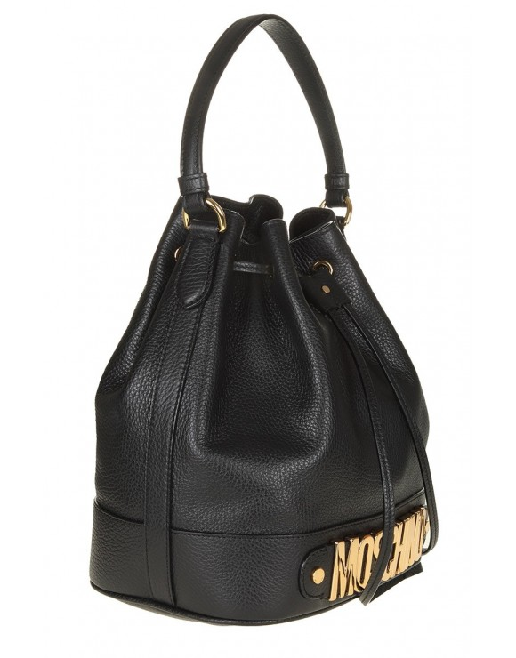 MOSCHINO BUCKET IN BLACK LEATHER WITH LOGO