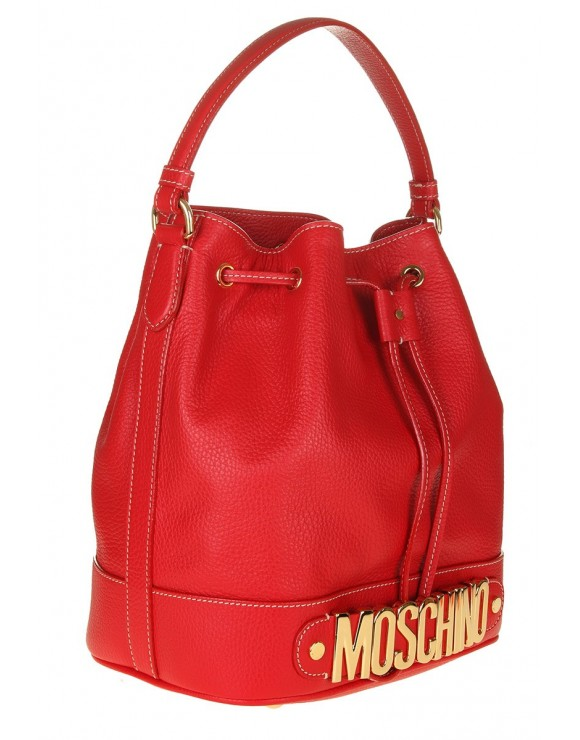 MOSCHINO BUCKET RED LEATHER WITH LOGO