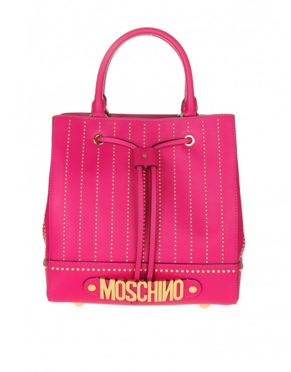 MOSCHINO BUCKET WITH MICRO STUDDED LEATHER PINK
