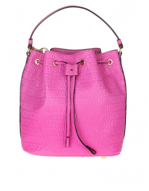 MOSCHINO BUCKET BAG WITH LOGO LEATHER PINK