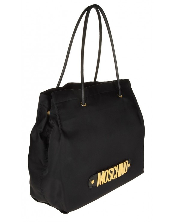 MOSCHINO SHOPPING BAG IN BLACK FABRIC