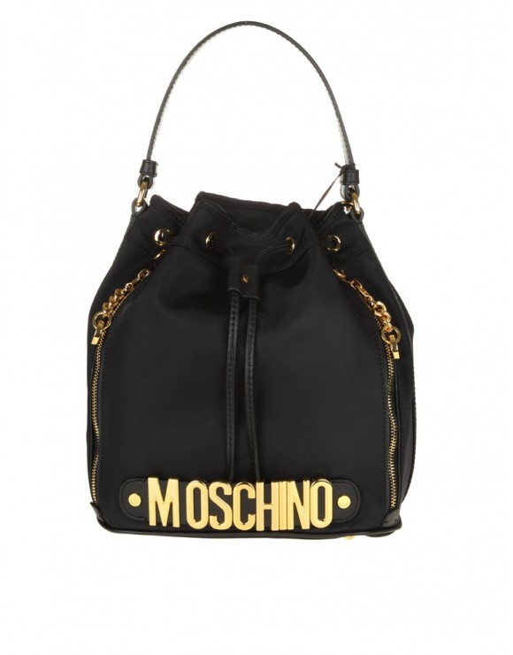 MOSCHINO BUCKET BAG IN BLACK FABRIC