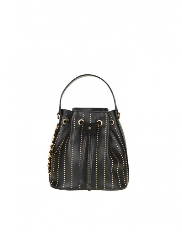 MOSCHINO BUCKET BAG IN BLACK LEATHER