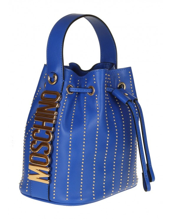 MOSCHINO BUCKET CALF LEATHER BLUE ELECTRIC