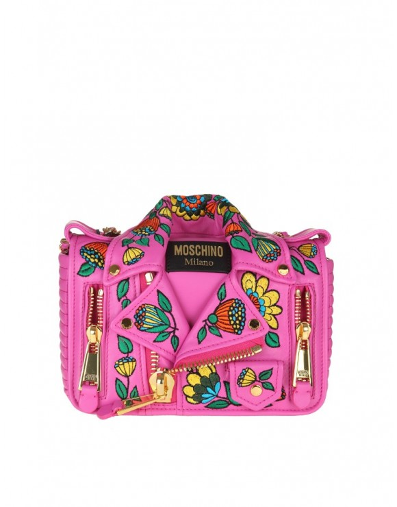 MOSCHINO BAG IN LEATHER WITH CHAIN COLOR PINK