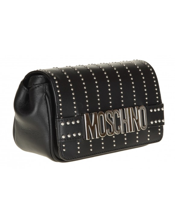 MOSCHINO SHOULDER BAG IN BLACK LEATHER