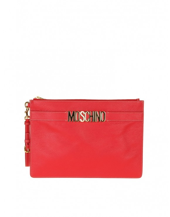 MOSCHINO CLUTCH BAG RED LEATHER