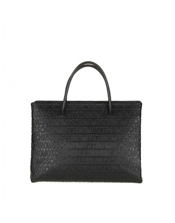 MOSCHINO SHOPPING BAG BLACK LEATHER