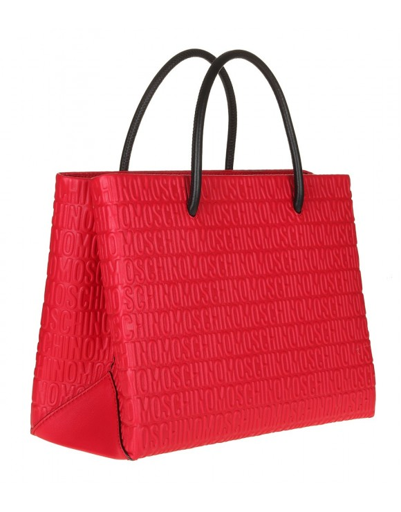MOSCHINO SHOPPING BAG RED LEATHER