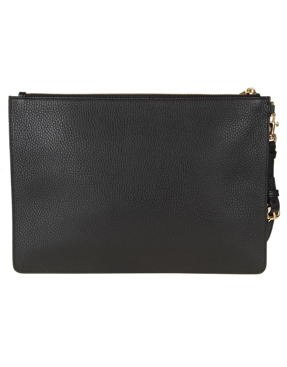 MOSCHINO BAG FLAT IN BLACK LEATHER