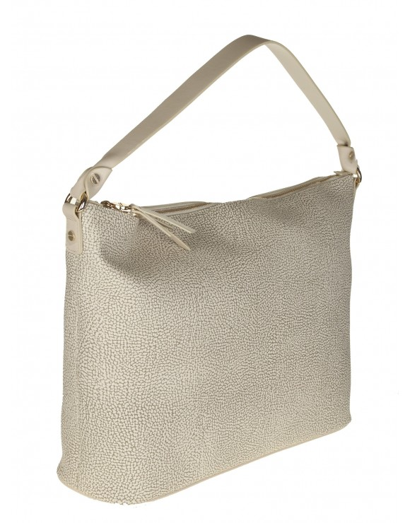 BORBONESE BORSA HOBO MEDIUM IN PELLE COLORE BEIGE