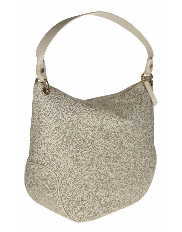 BORBONESE BORSA HOBO MEDIUM IN GRAFFITI E PELLE COLORE BEIGE