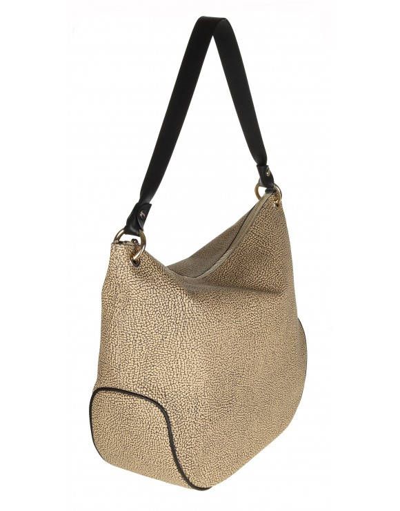 BORBONESE BORSA HOBO MEDIUM IN GRAFFITI E PELLE COLORE  SAFARI