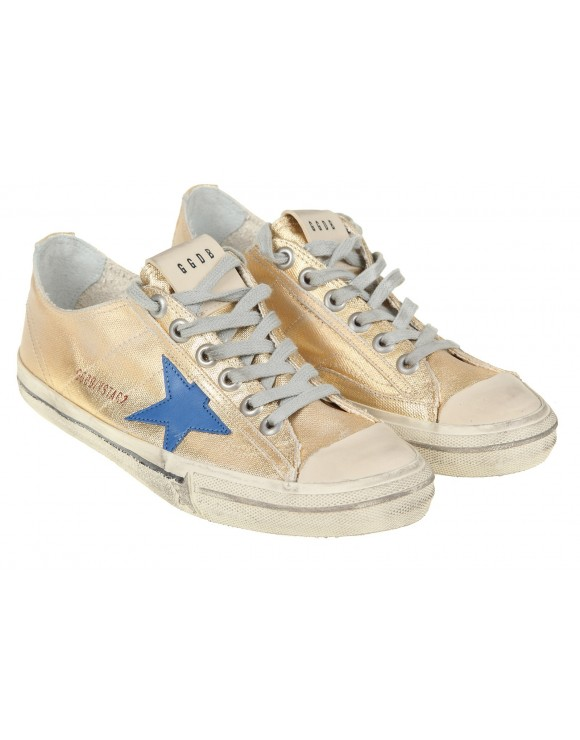 GOLDEN GOOSE SNEAKERS V-STAR2 CANVAS GOLD