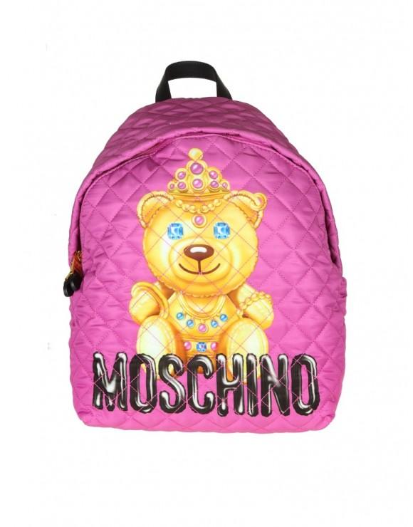 "MOSCHINO ZAINO ""TEDDY BEAR"" IN TESSUTO COLORE VIOLA"