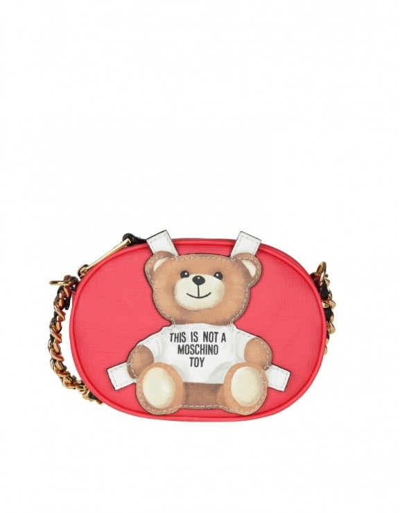 "MOSCHINO BAG ""teddy bear"" IN RED LEATHER"