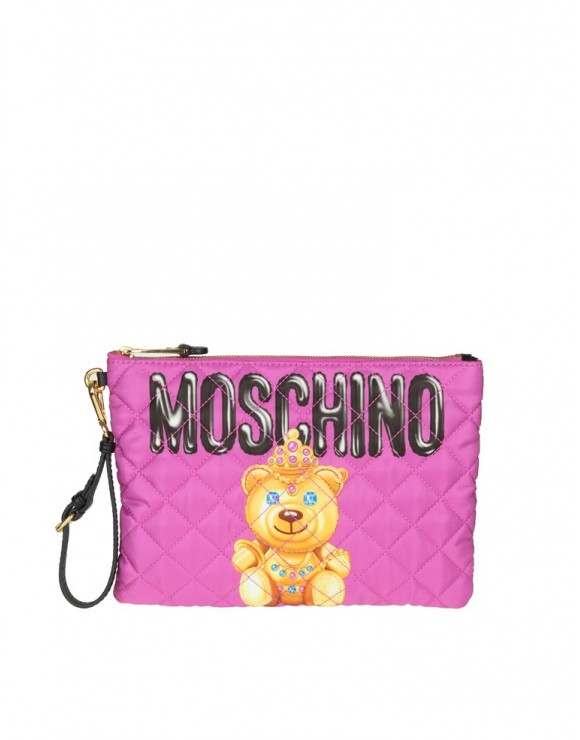 "MOSCHINO POCHETTE "" TEDDY BEAR"" IN NYLON COLORE VIOLA"