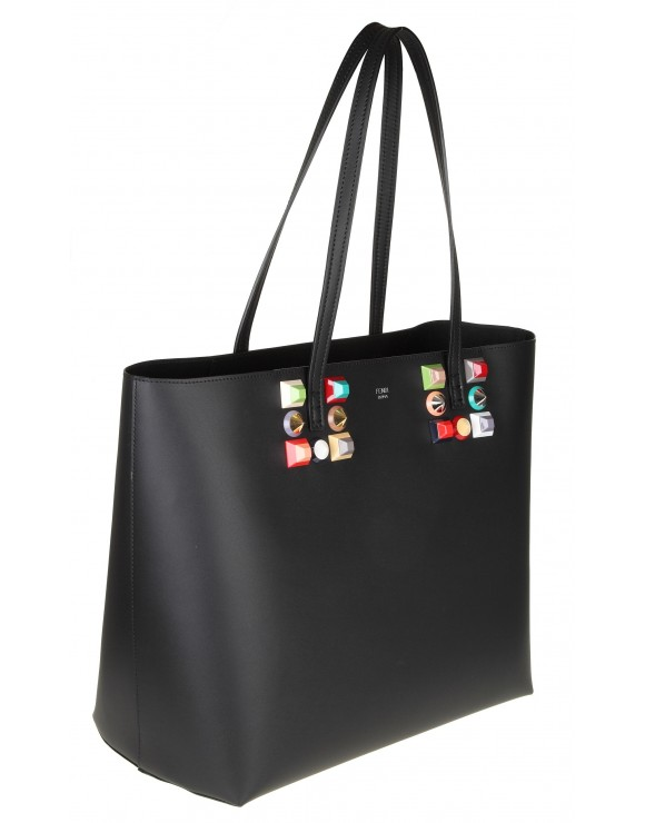 FENDI ROLL BAG IN PELLE CON BORCHIE COLORE NERO