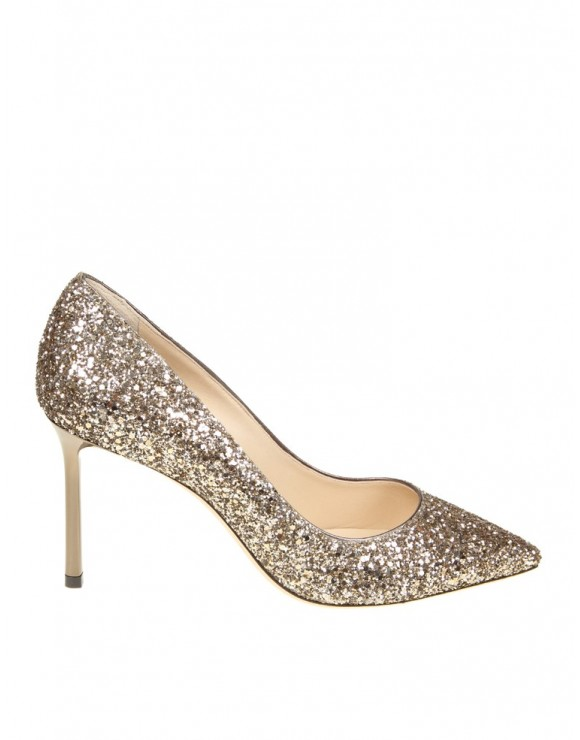 JIMMY CHOO DECOLLETE GLITTER COLOR GOLD