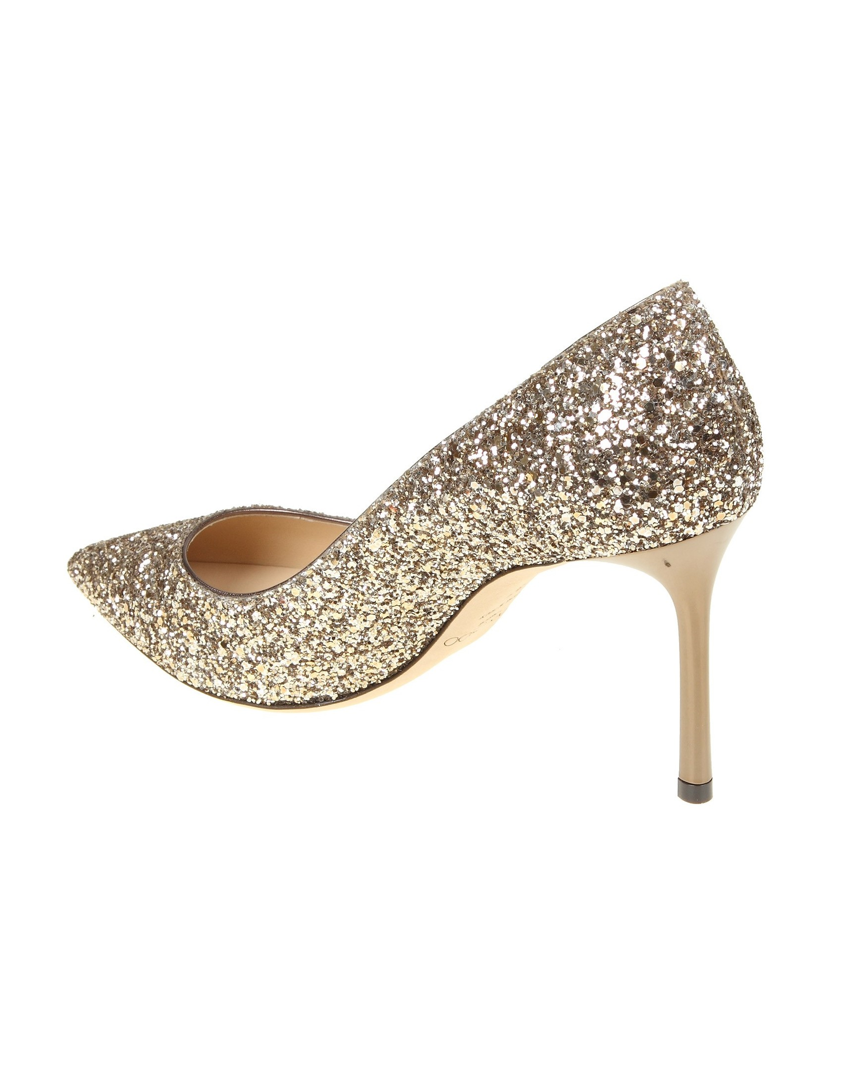 JIMMY CHOO DECOLLETE' GLITTER COLORE GOLD