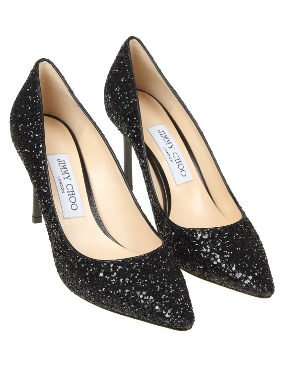 JIMMY CHOO DECOLLETE' GLITTER COLORE NERO
