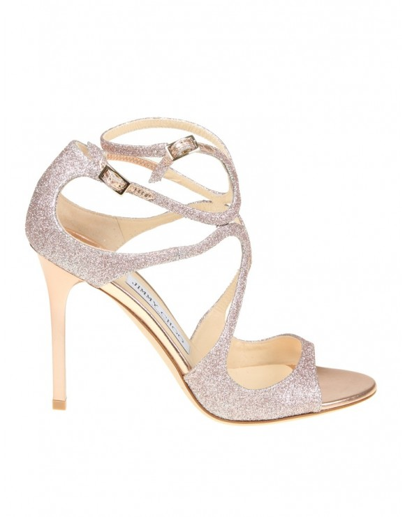 JIMMY CHOO SANDALO LANG IN GLITTER COLORE BLUSH