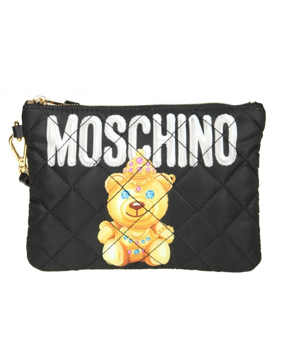 "MOSCHINO POCHETTE "" TEDDY BEAR"" IN NYLON COLORE NERO"
