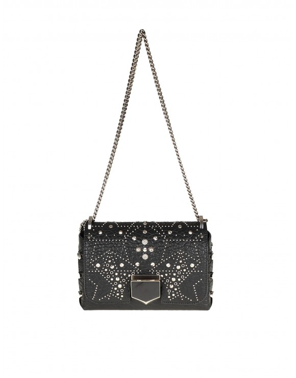 "JIMMY CHOO BORSA ""LOCKETT PETITE"" IN PELLE NERA CON BORCHIE"
