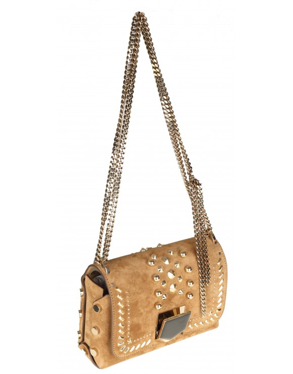 JIMMY CHOO BORSA SUEDE WITH PUNK STUDS COLORE CUOIO