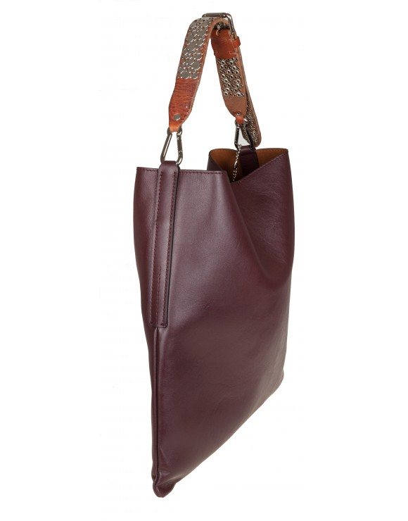 GOLDEN GOOSE HOBO BAG IN PELLE COLORE WINE TRACOLLA CON BORCHIE