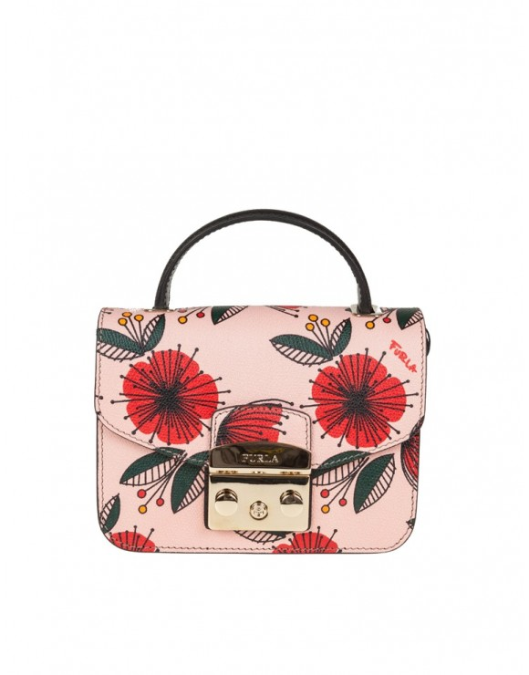 FURLA METROPOLIS MINI IN PELLE MULTICOLOR MOTIVO PAPAVERO