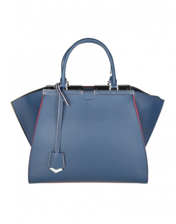 FENDI 3JOUR SHOPPING IN PELLE COLORE BLU