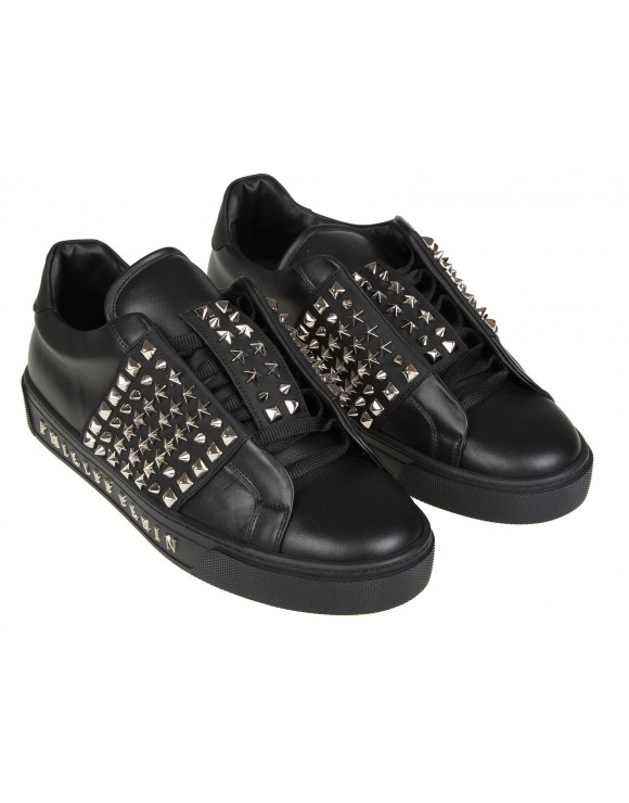 PHILIPP PLEIN LO-TOP SNEAKERS IN PELLE CON BORCHIE  COLORE NERO