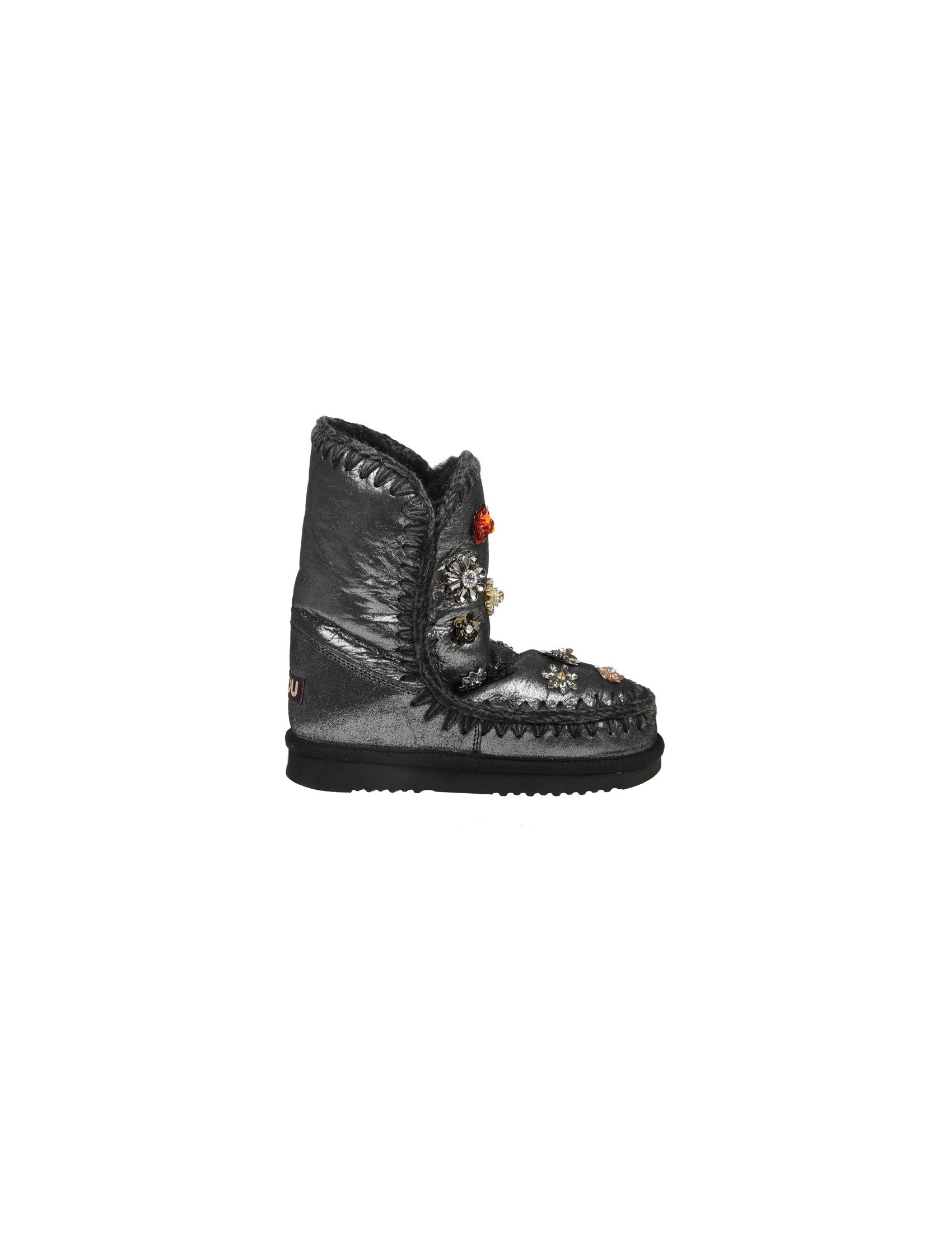 "MOU BOOT ""ESKIMO 24"" laminated gray leather fur flowers"