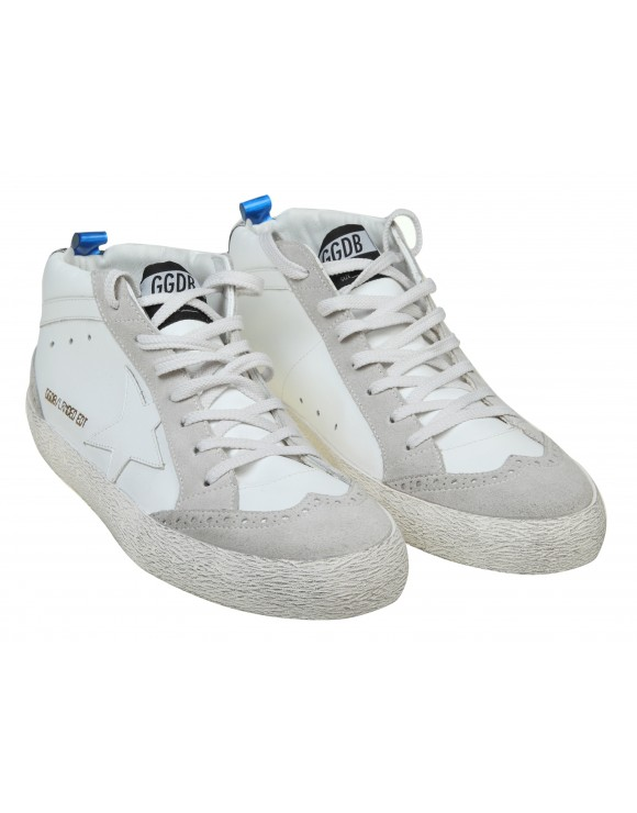 GOLDEN GOOSE SNEAKERS MID STAR IN PELLE CON STELLA BIANCA